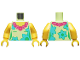 Part No: 973pb3441c01  Name: Torso Female, Dark Pink and Magenta Lei, Medium Azure and Bright Green Flowers Pattern / Yellow Arms / Yellow Hands