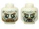 Part No: 3626cpb0950  Name: Minifig, Head Dual Sided LotR Ghost with Glowing Eyes, Moustache, and Circles on Temples, Mouth Closed / Mouth Open Pattern - Stud Recessed