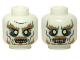 Part No: 3626cpb0951  Name: Minifig, Head Dual Sided LotR Ghost with Glowing Eyes and Moustache, Bottom Teeth / Top and Bottom Teeth Pattern - Stud Recessed