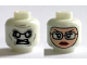 Part No: 3626cpb1383  Name: Minifig, Head Dual Sided Alien White Eyes and Teeth / Balaclava, Light Flesh Female Face with Glasses, Red Lips Pattern - Stud Recessed