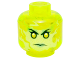 Part No: 3626cpb1391  Name: Minifig, Head Alien Female Ghost with Yellowish Green Face and Sand Green Lips Pattern - Stud Recessed