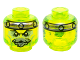 Part No: 3626cpb1401  Name: Minifig, Head Alien Ghost with Gray Goatee, Yellowish Green Eyes and Metal Band on Front and Back Pattern - Stud Recessed