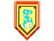 Part No: 22385pb055  Name: Tile, Modified 2 x 3 Pentagonal with Nexo Power Shield Pattern - Foul Steam