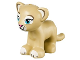 Part No: 14734pb01  Name: Lion / Tiger, Friends / Elves, Cub with Medium Azure Eyes, Dark Pink Nose and White Paws Pattern