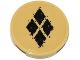 Part No: 14769pb103  Name: Tile, Round 2 x 2 with Bottom Stud Holder with 4 Black Diamonds Pattern (Sticker) - Set 76053