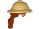 Part No: 18829pb01  Name: Minifig, Hair Combo, Hat with Hair, Pith Helmet and Dark Orange Hair in Ponytail Pattern