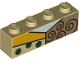Part No: 3010pb256  Name: Brick 1 x 4 with Light Aqua Neck, Brown Spirals and Green Dots Pattern (BrickHeadz Sally Chest)