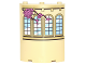Part No: 30562pb045L  Name: Cylinder Quarter 4 x 4 x 6 with Curved Lattice Windows and Vine with Pink Roses Pattern Model Left Side (Sticker) - Set 41067