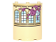 Part No: 30562pb045R  Name: Cylinder Quarter 4 x 4 x 6 with Curved Lattice Windows and Vine with Pink Roses Pattern Model Right Side (Sticker) - Set 41067