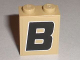 Part No: 3245cpb001  Name: Brick 1 x 2 x 2 with Inside Stud Holder with Black 'B' with White Outline Pattern (Sticker) - Set 8211