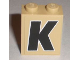 Part No: 3245cpb004  Name: Brick 1 x 2 x 2 with Inside Stud Holder with Black 'K' with White Outline Pattern (Sticker) - Set 8211