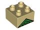 Part No: 3437pb001  Name: Duplo, Brick 2 x 2 with Green Lattice Peak Pattern