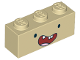 Part No: 3622pb068  Name: Brick 1 x 3 with Face Black Eyes, Wide Open Red Smile with 3 Teeth with Gap and Tongue Pattern (Finn)