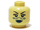Part No: 3626bpb0410  Name: Minifigure, Head Female SW Barriss Offee, Blue Lips, Blue Tattoo Pattern - Blocked Open Stud