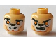 Part No: 3626cpb0863  Name: Minifig, Head Dual Sided Alien Chima Lion with Orange Eyes, Brown Nose, Teeth, Closed Mouth / Open Mouth Pattern (Lennox) - Stud Recessed