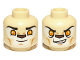 Part No: 3626cpb0892  Name: Minifig, Head Dual Sided Alien Chima Lion with Bright Light Orange Eyes and Dark Brown Nose, Closed Mouth / Open Mouth Pattern (Laval) - Stud Recessed