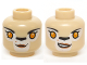 Part No: 3626cpb1141  Name: Minifig, Head Dual Sided Alien Chima Lion Female Bright Light Orange Eyes, Black Nose, Neutral / Crooked Smile Pattern (Li'Ella) - Stud Recessed