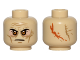 Part No: 3626cpb1204  Name: Minifigure, Head Black Eyebrows, Orange Eyes, Wrinkles, Scar and Two Large Scars on Back Pattern (SW Darth Vader) - Hollow Stud