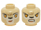 Part No: 3626cpb1223  Name: Minifig, Head Dual Sided Alien Chima Lion Female with Orange Eyes, Black Nose, Forelock, Crooked Smile / Bared Teeth Pattern - Stud Recessed