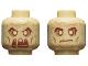 Part No: 3626cpb2267  Name: Minifigure, Head Dual Sided, Reddish Brown Eyebrows, Cheek Lines, Mouth, Medium Dark Flesh Spots, Neutral / Fierce Pattern - Hollow Stud