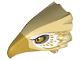Part No: 38832pb02  Name: Bird Head Upper Jaw with Metallic Gold Beak and White and Metallic Gold Feathers Pattern (Thunderbird)