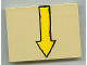 Part No: 4515pb027R  Name: Slope 10 6 x 8 with Yellow Arrow Pointing Down (towards edge of slope) Pattern (Sticker) - Set 4982