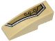 Part No: 50950pb069L  Name: Slope, Curved 3 x 1 No Studs with Gold and Silver Armor Plate with 3 Black Swirls Pattern Model Left Side (Sticker) - Set 70123