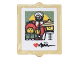 Part No: 60601pb015  Name: Glass for Window 1 x 2 x 2 Flat Front with Photo with Garmadon, Misako, Sensei Wu, Red Heart and Signature Pattern (Sticker) - Set 70620