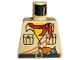 Part No: 973pb0391  Name: Torso Adventurers Desert Safari Shirt, Yellow Neck, Red Bandana, Gun Pattern