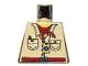 Part No: 973pb0431  Name: Torso Adventurers Desert Safari Shirt, Yellow Neck, Red Bandana, Compass Pattern (color reversed 973pa6)