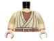 Part No: 973pb0471c01  Name: Torso SW Layered Shirt Old Obi-Wan Light Flesh Neck, Brown Belt Pattern / Tan Arms / Light Flesh Hands