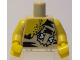 Part No: 973pb0659c01  Name: Torso Male with Chest Hair and Animal Print Top with Bone Pattern / Yellow Arms / Yellow Hands