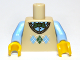 Part No: 973pb1110c01  Name: Torso Argyle Sweater Vest with Green Bow Tie Pattern / Bright Light Blue Arms / Yellow Hands