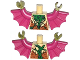 Part No: 973pb1664c01  Name: Torso Bat with Vestigial Minifigure Arms, Green and Purple Vein and Dark Orange Fur Pattern / Magenta Arms with Wings / Olive Green Hands