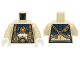 Part No: 973pb1833c01  Name: Torso Chima Female Outline with Dark Blue and Gold Armor with Scales, Straps, Pouches and Fire Chi Emblem Pattern / Tan Arms / White Hands