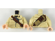 Part No: 973pb3178c01  Name: Torso Shirt with Pockets, Reddish Brown Shoulder Belt with Shells and Pouches, Dark Tan Rifle Holster on Back Pattern / Tan Arms / Light Flesh Hands