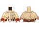 Part No: 973pb3233c01  Name: Torso SW Jacket with Vertical Stripes, Reddish Brown Belt, Badge with Alien Letters Pattern (Quarrie) / Tan Arms / Dark Orange Hands