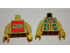 Part No: 973px105ac01  Name: Torso Western Indians Necklace and Dark Turquoise Squares - LEGO Logo on Back Pattern / Tan Arms / Yellow Hands