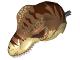 Part No: 98161c04pb01  Name: Dino Head Tyrannosaurus rex with Pin, White Teeth, Medium Dark Flesh Top and Dark Brown Stripes Pattern