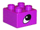 Part No: 3437pb025  Name: Duplo, Brick 2 x 2 with Eye, Rhino's Pattern on Two Sides