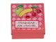 Part No: 33031pb08  Name: Container, Box 3.5 x 3.5 x 1.3 with Hinged Lid with Fruit Pattern (Sticker) - Set 3205