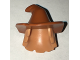 Part No: 20606pb02  Name: Minifigure, Hair Combo, Hair with Hat, Mid-Length Scraggly with Dark Orange Floppy Witch Hat Pattern