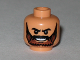 Part No: 3626bpb0379  Name: Minifig, Head Beard Brown Full with Black Knit Eyebrows and Grin with Teeth Pattern - Blocked Open Stud