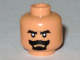 Part No: 3626bpb0380  Name: Minifigure, Head Beard Black Van Dyke with Thick Black Moustache and Eyebrows Pattern - Blocked Open Stud