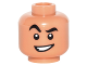 Part No: 3626cpb1553  Name: Minifigure, Head Black Eyebrows, Raised Right Eyebrow, Crooked Open Smile Pattern (Aladdin) - Hollow Stud