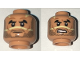Part No: 3626cpb1574  Name: Minifig, Head Dual Sided Beard Stubble, Black Thick Eyebrows, Neutral / Bared Teeth Angry Pattern (SW Quinlan Vos) - Stud Recessed