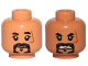 Part No: 3626cpb1656  Name: Minifigure, Head Dual Sided Black-Gray Beard, Scar on Left Side, Closed Mouth / Angry Pattern (SW Baze Malbus) - Hollow Stud