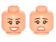 Part No: 3626cpb1745  Name: Minifigure, Head Dual Sided Female Thin Black Eyebrows, Brown Eyeshadow, Red Lips, Beauty Mark, Smile / Scared Pattern - Hollow Stud