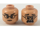 Part No: 3626cpb2157  Name: Minifigure, Head Dual Sided Black Glasses, Black Eyebrows, Neutral / Scared with Gap in Teeth Pattern - Hollow Stud
