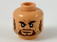 Part No: 3626cpb2299  Name: Minifigure, Head with Dark Brown Sideburns, Goatee, and Eyebrows, Left Raised, Dark Bluish Gray Whiskers Pattern - Hollow Stud